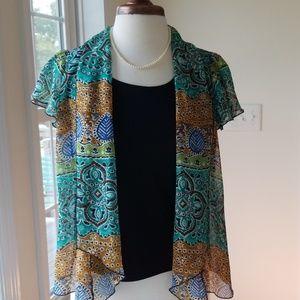 Sara Michelle Boho Print Jacket Over Tank Top